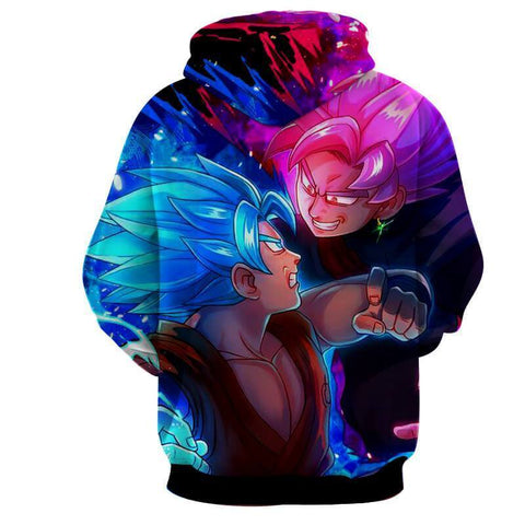 Dragon Ball Super Z Hoodie - Goku Vs Black Goku Rose 3D Hoodie - Hoodielovers