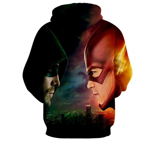 Flash & Green Arrow 3D Printed Hoodie - The Flash Jacket - Star Lab Hoodie - Hoodielovers