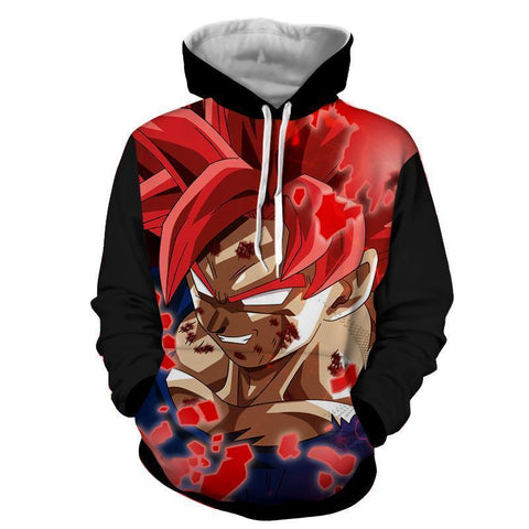 Dragon Ball Super Hoodie - Goku SSJ Red God Hoodie - Hoodielovers