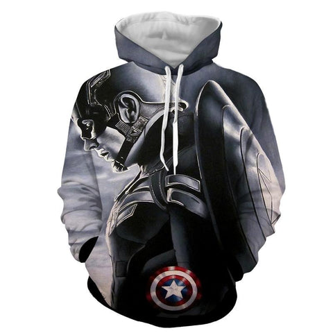 Captain America 3D Printed Black & White Hoodie - Hoodielovers