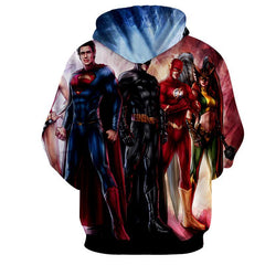 Justice League 3D Printed Hoodie / Superman / Batman / Flash