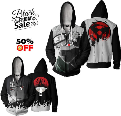 BLACK FRIDAY DEAL Naruto Bundle# 11 | TWO Zip Up In One - Hoodielovers