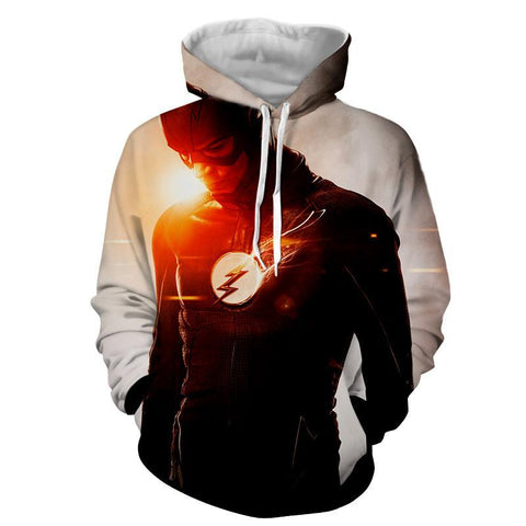 Flash Printed White Hoodie - The Flash Jacket - Star Lab Hoodie - Hoodielovers