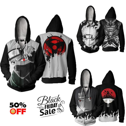BLACK FRIDAY Naruto Bundle# 7 | THREE Zip Up In One Deal - Hoodielovers