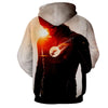 Image of Flash Printed White Hoodie - The Flash Jacket - Star Lab Hoodie - Hoodielovers
