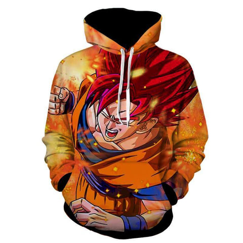 Dragon Ball Z Hoodie - Goku SSJ Red God Hoodie - Jacket - Hoodielovers