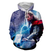 Image of Thor Hoodies - 3D Printed Hoodie - Angry Thor With Mjonir - Hoodielovers