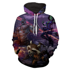 Thanos-Gamora-Rocket Raccoon 3D Hoodie-Guardian Of Galaxy Jacket - Hoodielovers