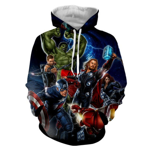 Avengers Marvel 3D Printed Hoodie All Super Heros (Iron Man / Thor / Hulk / Captain America) - Hoodielovers