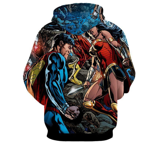 Justice League 3D Printed Hoodie Super Man & Wonder Women - Hoodielovers