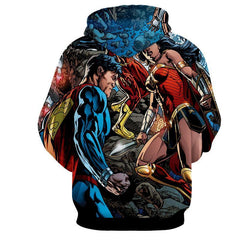 Justice League 3D Printed Hoodie Super Man & Wonder Women