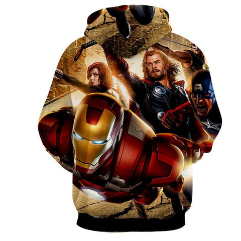Avengers 3D Printed Hoodie / Iron Man / Thor / Black Widow - Hoodielovers