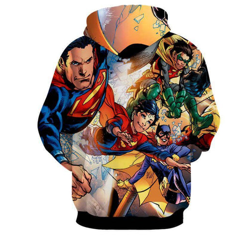 Justice League 3D Printed Hoodie Superman / Super Kid / Batman - Hoodielovers