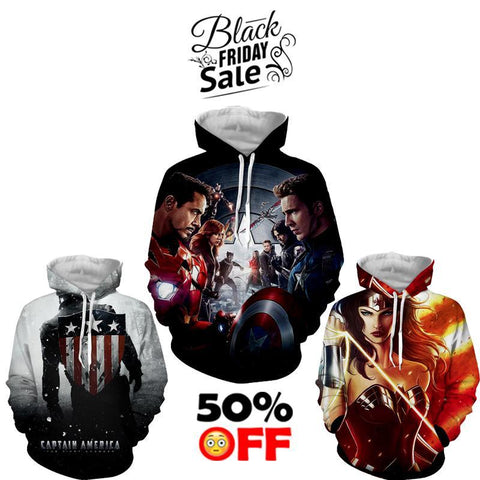 BLACK FRIDAY DEAL #20 - Marvel 3 Hoodies Bundle - Hoodielovers