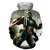 Image of Captain America 3D Printed Hoodie During War - Hoodielovers