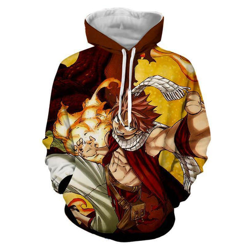 Natsu Dragneel Fairy Tail Brown & Yellow 3D Hoodies - Hoodielovers