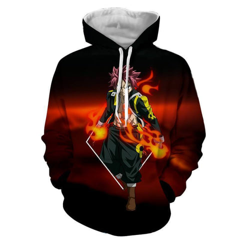Fairy Tail Natsu Dragneel Super Cool Black 3D Hoodies - Hoodielovers
