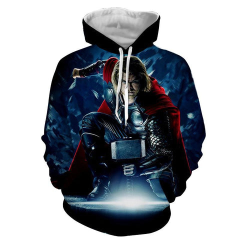 Thor Hoodies - 3D Printed Hoodie - Thor in Action - Hoodielovers