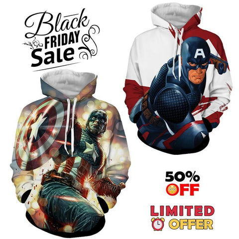 BLACK FRIDAY DEAL #5 - Captain America 2 Hoodies Bundle - Hoodielovers