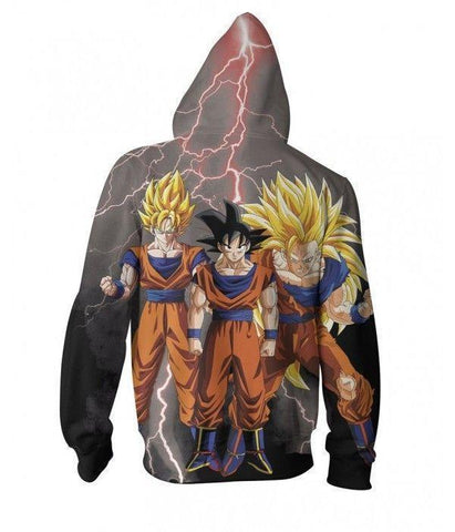 Goku Transformations 3D Printed Zip Up Hoodie - Hoodielovers