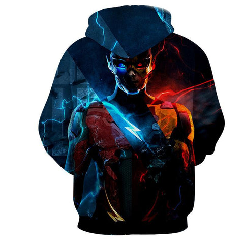 Flash 3D Printed Neon Hoodie - The Flash Jacket - Star Lab Hoodie - Hoodielovers