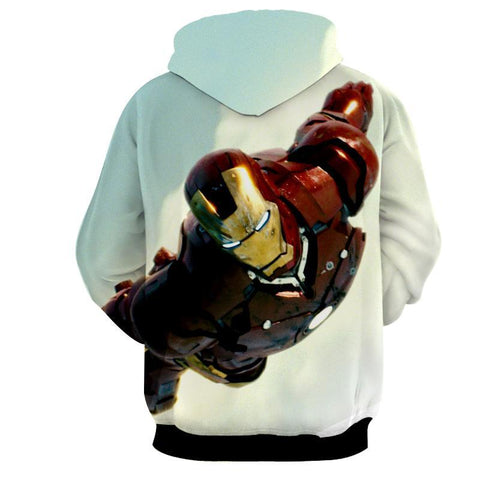 Iron Man 3D Printed White Hoodie - Hoodielovers