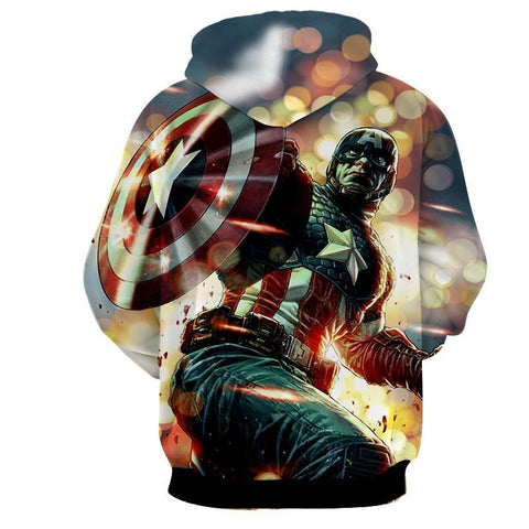 Captain America 3D Printed Action & Explosion Hoodie - Hoodielovers