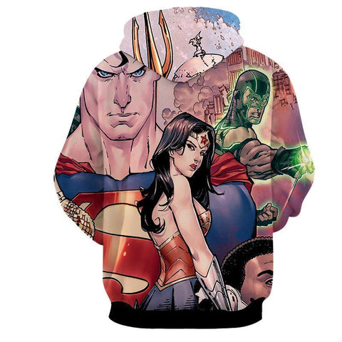 Justice League 3D Printed Hoodie / Wonder Women & Superman - Hoodielovers