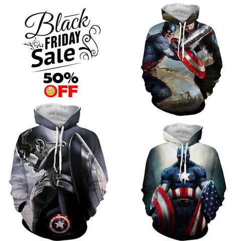 BLACK FRIDAY DEAL #8 - Captain America 3 Hoodies Bundle - Hoodielovers