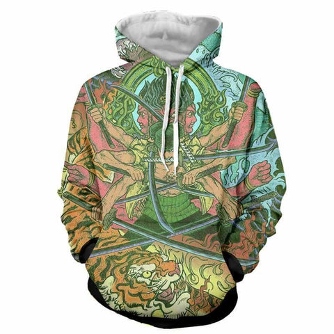 Zoro Swordsman Demon Ashura 3D Hoodie - One Piece - Hoodielovers