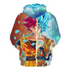 Image of Dragon Ball Z Hoodie - Goku Red & Blue God 3D Hoodie - Hoodielovers