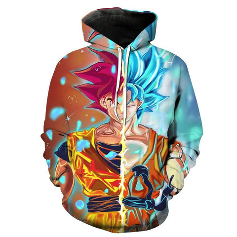 Dragon Ball Z Hoodie - Goku Red & Blue God 3D Hoodie - Hoodielovers