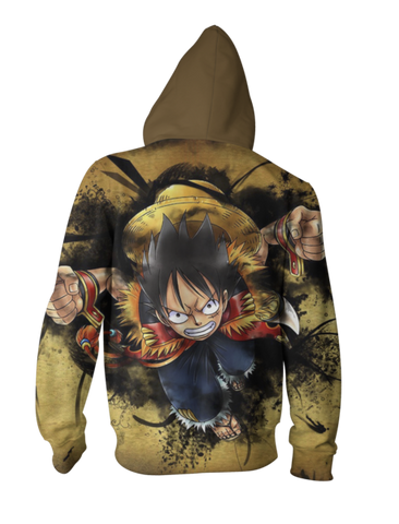 Luffy Super Punch Hoodie - Luffy Punch Zip Up Jacket - Hoodielovers