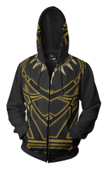 Black Panther Costume Hoodie - Comic Black Panther Zip Up Jacket