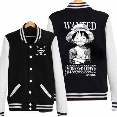 One Piece Monkey D Luffy Wanted Skull Baseball Jacket - Hoodielovers