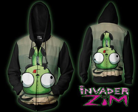 Invader Zim Fall Down Hoodie - Zim Invader Zip Up Jacket - Hoodielovers