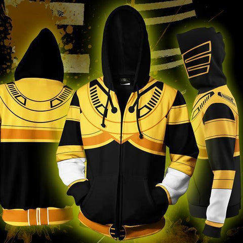 POWER RANGERS - GOLDEN RANGER ZIP UP HOODIE - POWER RANGERS HOODIE - Hoodielovers
