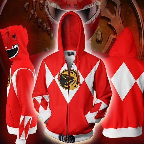 POWER RANGERS - RED RANGER ZIP UP HOODIE - POWER RANGERS HOODIE - Hoodielovers
