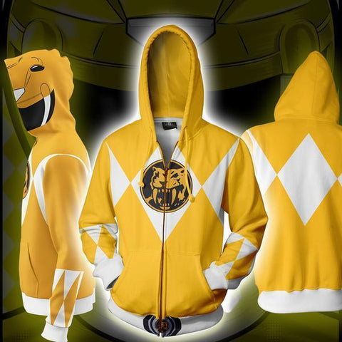 POWER RANGERS - YELLOW RANGER ZIP UP HOODIE - POWER RANGERS HOODIE - Hoodielovers