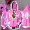 Image of POWER RANGERS - PINK RANGER ZIP UP HOODIE - POWER RANGERS HOODIE - Hoodielovers