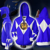 Image of POWER RANGERS - BLUE RANGER ZIP UP HOODIE - POWER RANGERS HOODIE - Hoodielovers