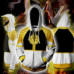 POWER RANGERS - WHITE RANGER ZIP UP HOODIE - POWER RANGERS HOODIE - Hoodielovers
