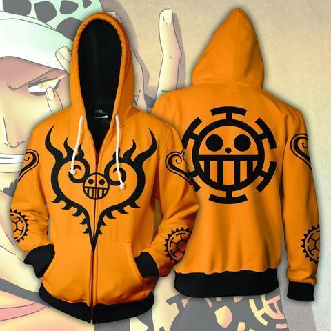 TRAFALGAR LAW TATTOOS ZIP UP HOODIE - ONE PIECE HOODIE - Hoodielovers