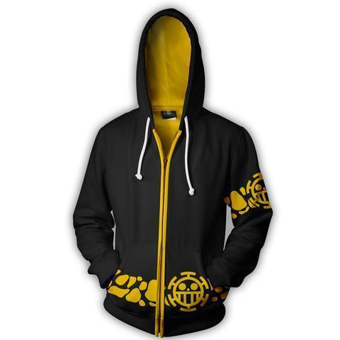 TRAFALGAR LAW COAT COSPLAY ZIP UP HOODIE - ONE PIECE JACKET - Hoodielovers