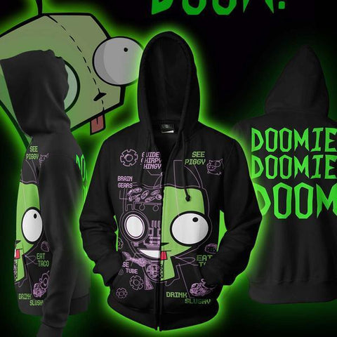 Invader Doom Hoodie - Zim Doom Zip Up Jacket - Hoodielovers