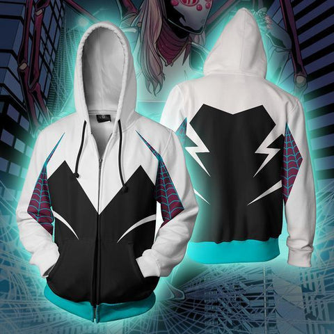 Spider Gwen Hoodie - Comic Spider Gwen Zip Up Jacket - Hoodielovers