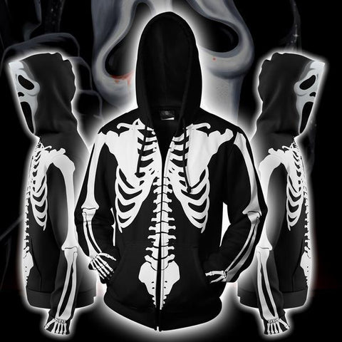 Ghostface Costume Hoodie - Ghostface Scream Series Zip Up Jacket - Hoodielovers