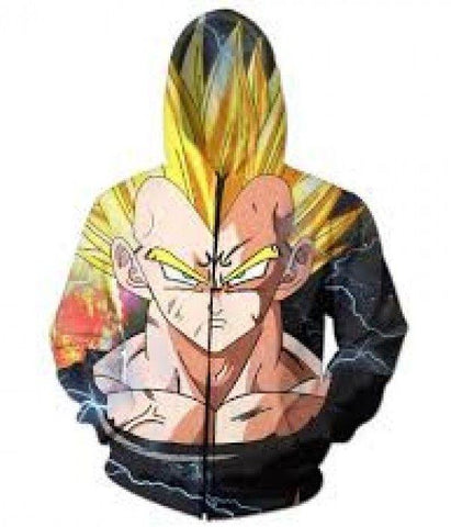 Dark Evil Demon Prince Majin Vegeta Zip Up Hoodie - Hoodielovers