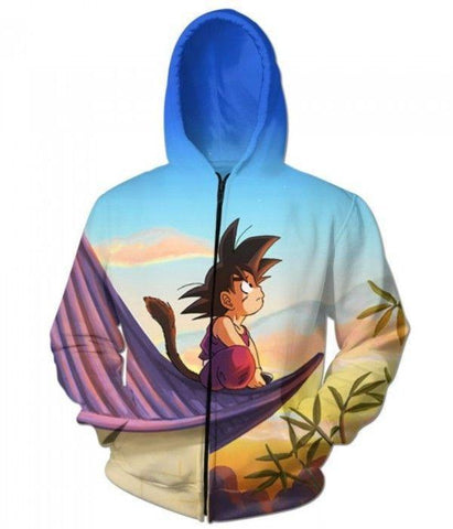 Dragon Ball Z Cute Kid Goku Sitting Sky 3D printed Zipup Hoodie - Hoodielovers