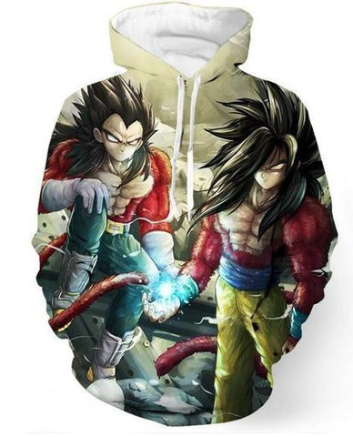 Dragon Ball Z Hoodie - Goku & Vageta Ssj 4 3D Hoodies - Hoodielovers